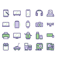 modern gadgets color linear icons set vector image