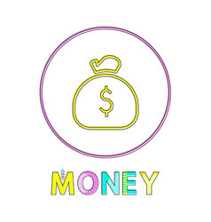 money web linear icon template with sack of coins vector image