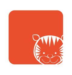 Orange square picture of tiger animal vector