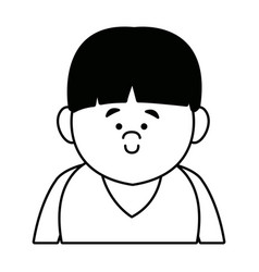 portrait young boy cartoon person front view vector image