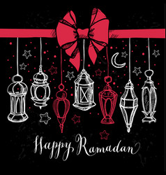 ramadan kareem with lantern in hand vector image
