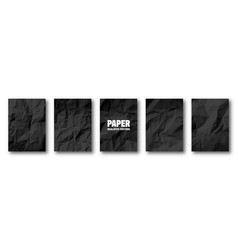 realistic black crumpled paper texture isolated vector image