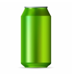 Realistic green aluminum can vector