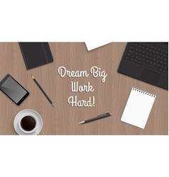 realistic workplace table with quote vector image