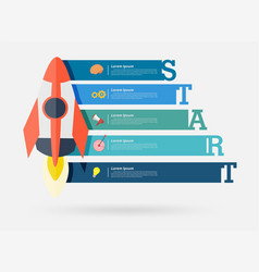 rocket with infographic elements vector image