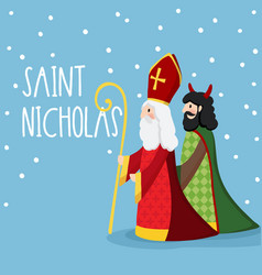 Saint nicholas walking with devil and falling snow vector