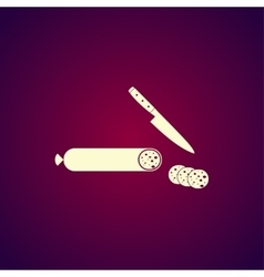 Salami with knife icon vector