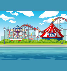 scene background design with circus rides at vector image