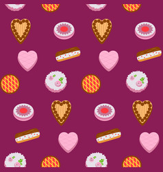 seamless pattern colorful cakes vector image