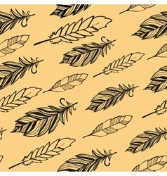 Seamless pattern Hand drawn bird black feathers vector image