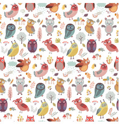 Seamless pattern with cute woodland owls funny vector