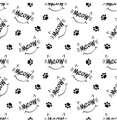 Seamless pattern with meow lettering vector