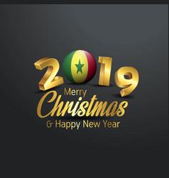 Senegal flag 2019 merry christmas typography new vector