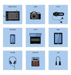 Set of gadgets on a blue background vector