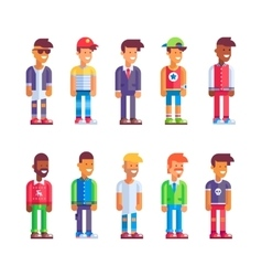 Set of male characters in flat design vector image