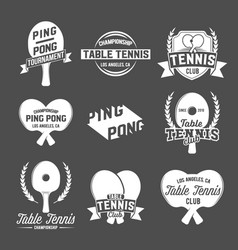 Set of ping pong emblems labels badges an vector