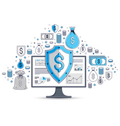 shield over computer monitor and dollar set of vector image