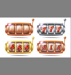 slot machine set 777 golden silver vector image