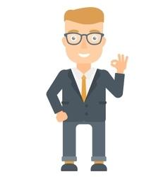 Smiling businessman showing ok sign vector image