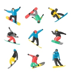 Snowboarder jump in different pose on white vector image