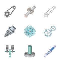 Spare parts for machine tools icons set vector