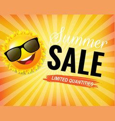 summer sale poster with text and sun and sunburst vector image
