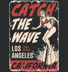 surfing vintage poster vector image