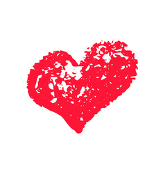 Textured red heart chalk clipart icon vector