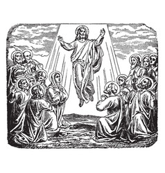 The ascension of jesus at the mount of olives vector