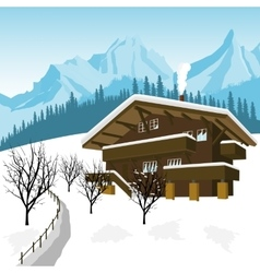 Traditional alpine chalet in mountains alps vector