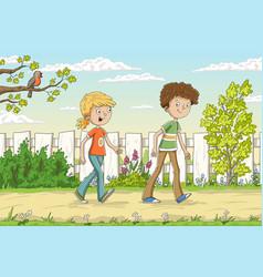 two children in the garden vector image