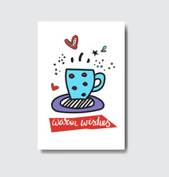 warm wishes card doodle winter holidays concept vector image