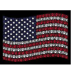waving usa flag stylized composition of paw vector image