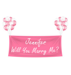 will you marry me pink banner with balloons vector image