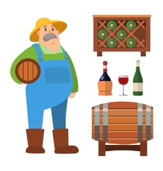Wine production set vector image