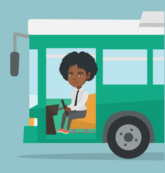 Young african bus driver sitting at steering wheel vector