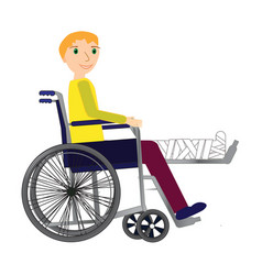 Young man in a wheelchair with broken bone vector