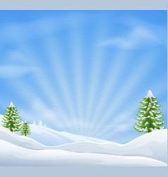christmas snow landscape background vector image vector image