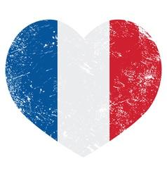 France heart retro flag vector image vector image