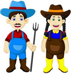 funny couple farmer cartoon holding rake vector image vector image