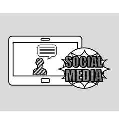 hand drawing character chat social media mobile vector image