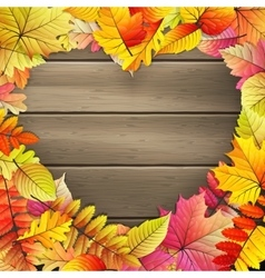Heart with colored autumn leaves eps 10 vector