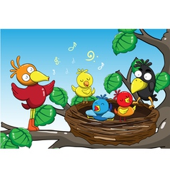 Mother and baby birds singing in the trees cartoon vector