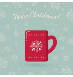 Red mug on winter backdrop vector image