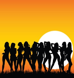 sexy and beauty girls and sunset vector image vector image