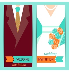 Wedding invitation vertical cards in retro style vector image vector image