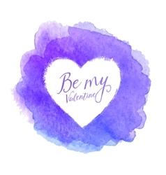 Blue watercolor painted stain with heart shape vector image