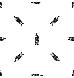 buddhist monk pattern seamless black vector image