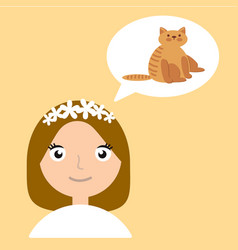girl thinks about animal home flat vector image