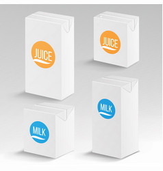 juice and milk package realistic mock up vector image vector image